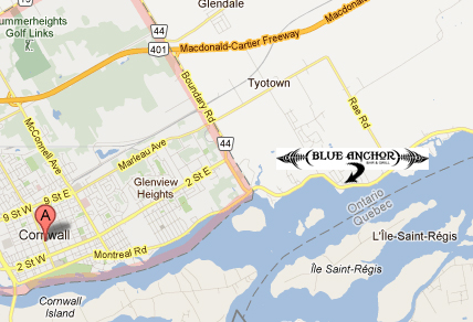 Contact Us Blue Anchor - Us map with st lawrence river